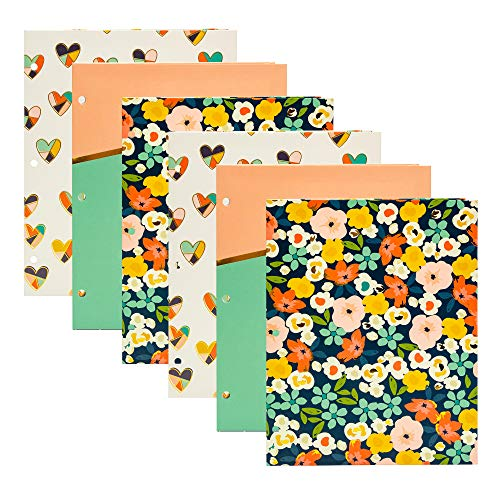 Pukka Pad, Carpe Diem, 2 Pocket Folder Organizer, Fits 3-Ring Binder, Office, School, 9.5 x 11.75 in, 3 Designs, 6 Pack