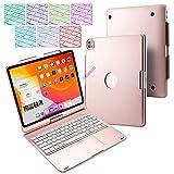 Funda para Teclado iPad Pro 12.9 BECEMURU 7 Colores Teclado Bluetooth Soporte Giratorio de 360° Funda de Aluminio y ABS Funda con touchpad para iPad Pro 12.9 (3rd/4th generación) (oro rosa)