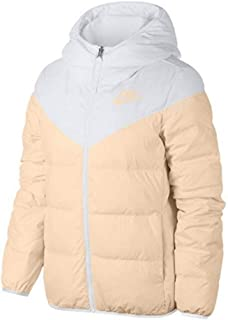 Nike Women's Sportswear Windrunner Reversible Down Fill Parka Jacket Size Medium White/Peach
