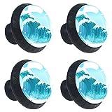 Sea Wave - Juego de 4 pomos redondos para aparador, diseño floral de colores, decoración del hogar