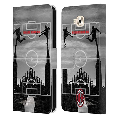 Head Case Designs Oficial AC Milan Milano Siamo NOI 3 Adultos Carcasa de Cuero Tipo Libro Compatible con Zenfone 4 Selfie ZD553KL
