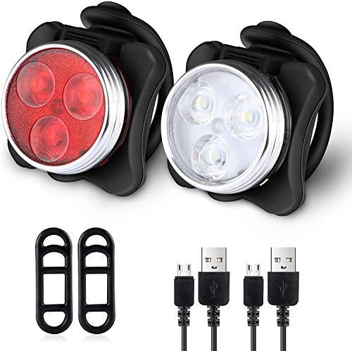 wxqym Conjunto USB luz de la Bici, 650mAh batería Recargable Super Brillante luz de Bicicletas, Bicicletas Luces Delantera y Trasera, a Prueba de Agua