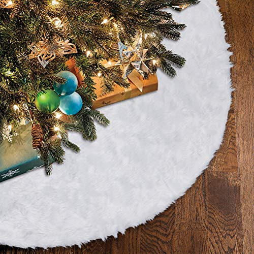 Lalent Large 36inch Faux Fur Christmas Tree Skirt, Luxury Tree Skirts Plush Tree Cover Snow White Base Mat Christmas Decorations Xmas Holiday Party Supplies - 90cm Diameter