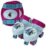 PlayWheels Adjustable Glitter Frozen 2 Children's Roller Skates and Knee Pads Set, Junior Size 6-12