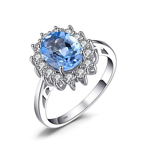 JewelryPalace Anillo de Compromiso Princesa Diana William Kate Middleton 2.3ct Halo Topacio Azul Genuinn Plata de ley 925 Tamaño 19