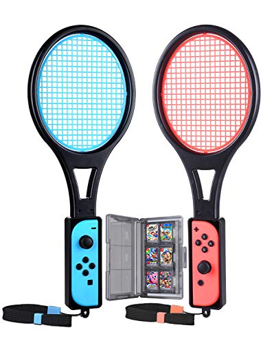 Tendak Raquette de Tennis pour Nintendo Switch Mario Tennis Aces Games Raquette tennis pour manettes Joy-Con avec étui pour cartes jeux 12 en 1 (2 Pièces, Bleu et Rouge)