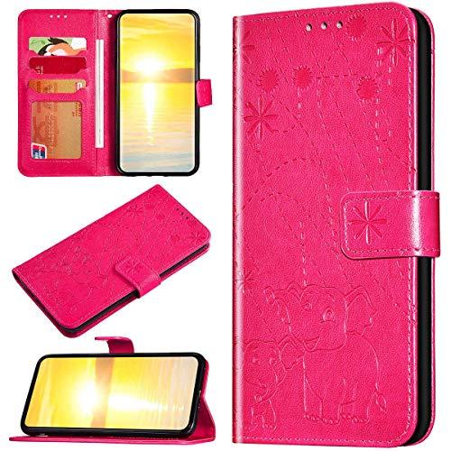 Robinsoni Custodia Compatibile con Samsung Galaxy J330 Case Portafoglio Galaxy J330 Cover Libro Case Pelle Antiurto Case Wallet Taccuino Cover Libretto Cartone Animato Flip Cover Rosa Rossa Elefante