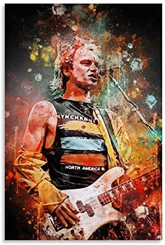 Lienzo Y Arte De Pared PóSter Guitarra e Imagen legendaria del Guitarrista de Sting The Police para la decoración del Comedor Pintura Pared Y Estampados Cuadros 19.7'x27.6'(50x70cm) Sin Marco