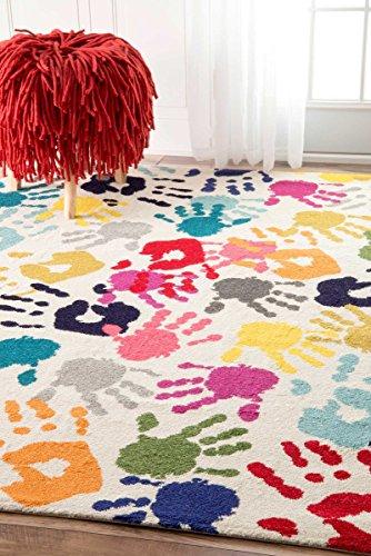nuLOOM Handprint Collage Kids Nursery Area Rugs, 8' x 10', Multicolor