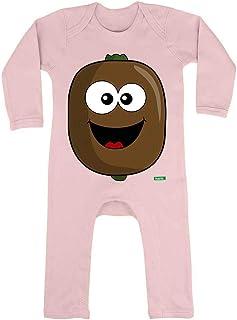 HARIZ HARIZ Baby Strampler Kiwi Lachend Früchte Sommer Plus Geschenkkarte Zuckerwatte Rosa 6-12 Monate