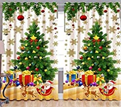 ARTSY HOME Polyester 3D Printed Xmas Tree Blend Christmas Theme Decoration 7 ft Curtain for Door-Multi-Coloured-2 Piece
