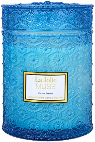 Scented Candles Sandalwood Wood Wick 550g Soy Wax Candle Large Glass Jar 90 Hours, Gift for Her