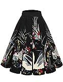 Bridesmay Falda Plisada Estampada Floral/a Lunares Vintage de Años para Mujeres Swan-Black XS