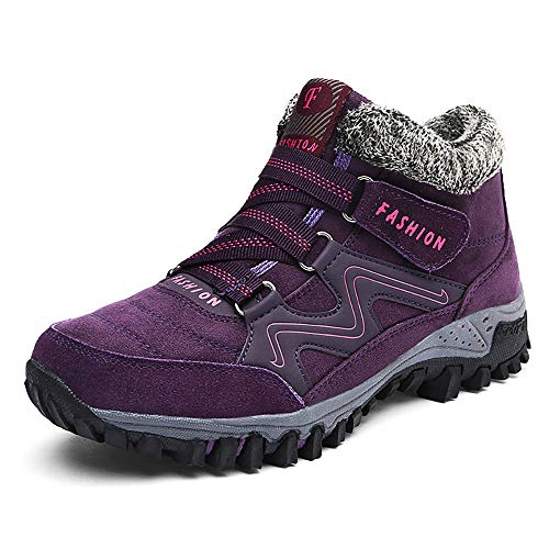 TBBY Women's Winter Thermal Villi Leather Platform Fashion high top Boots Outdoor Walking Shoes Non-Slip Hiking Shoes Purple