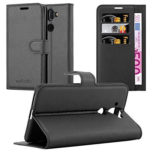 Cadorabo Hülle für Nokia 8 Sirocco in Phantom SCHWARZ - Handyhülle mit Magnetverschluss, Standfunktion & Kartenfach - Hülle Cover Schutzhülle Etui Tasche Book Klapp Style