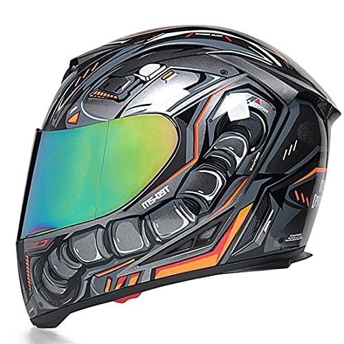 YALIXING Casco Moto Integral ECE Homologado con Doble Visera Diseño de Ventilación Casco de Moto Scooter para Mujer Hombre Adultos Forro Extraíble (Color : 30, Size : X Large 61-62CM)