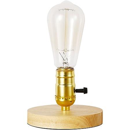 Injuicy Loft Industriel Socle en Ceramica Lampes de Table en Céramique Antico Edison Bois E27 Lampe de Bureau Antique Lampe à Poser Chevet Café Bar Salon Chambre Lampe de Nuit de Studio (Bois)