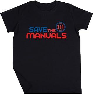 Save The Manuals Niño Niña Unisexo Negro Camiseta Manga Corta Kids Black T-Shirt