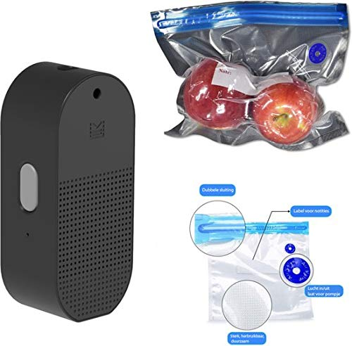 Flextail Gear – 9 Flex & Food herbruikbare vacuümzakken voor levensmiddelen en ATMOS luchtpomp compressor vacuümpomp – geschikt voor het oppompen van ballen en vacuümzakken zwart