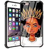 iPhone 6 iPhone 6s Case African Afro Girls Women Slim Fit Shockproof Bumper Cell iPhone Accessories Black Tempered Glass Protective Apple iPhone 6/6s Case - Queen Girls