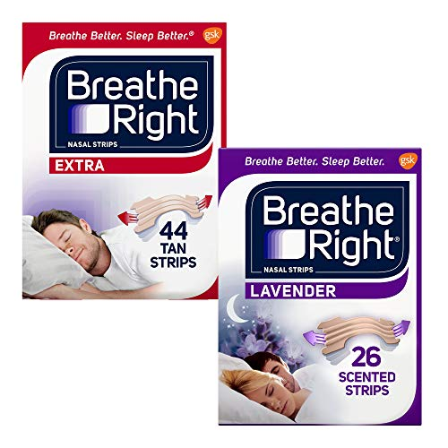 Breathe Right Nasal Strips to Stop Snoring, Drug-Free, Calming Lavender, 26 Count (Pack of 1) & Breathe Right Extra Tan Drug-Free Nasal Strips for Nasal Congestion Relief, 44 Count