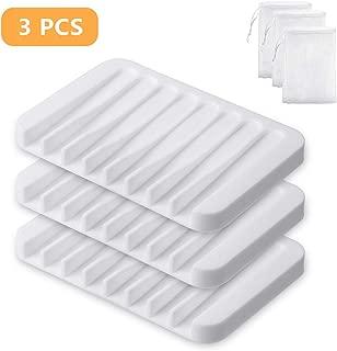 Yako 3Pcs Soap Dish, Bar Soap Holder Box Stand Case Saver Tray for Shower Bathroom Kitchen, Premium Flexible Silicone Soap Dishes, Prevent Melting, Non-Slip Design, Easy Cleaning, White