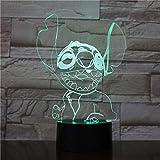 Lampada Da Illusione 3D Lampada Da Notte A Led Meraviglioso Regalo Lilo E Stitch Cartoon Decorazione Per Interni Cambiamento Di Colore Lampada Da Tavolo Migliori Regali Di Festa Di Compleanno