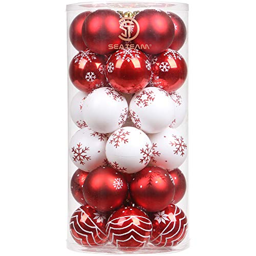 intricate designs of red and white christmas ornaments