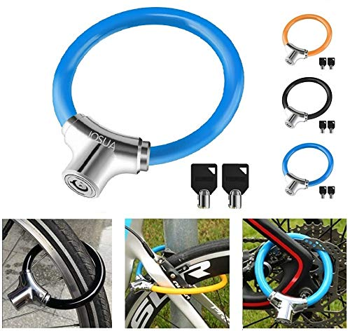 IOSUA Bike Lock Anti Theft 12mm Lightweight Unbreakable Bicycle Wheel Portable Locks with 2 Keys for Road Mountain Commute Bike Gift for Child Kids (Blue)