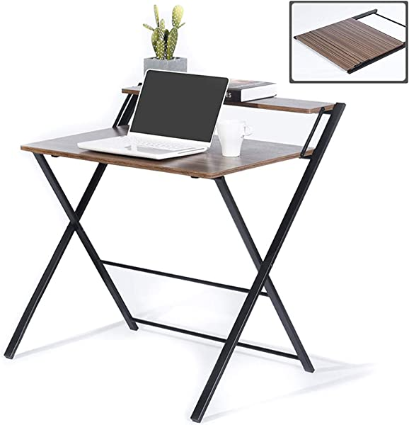 GreenForest Folding Desk For Small Space 2 Tiers Computer Desk With Shelf Home Office Small Desk With Metal Legs No Assembly Required Espresso