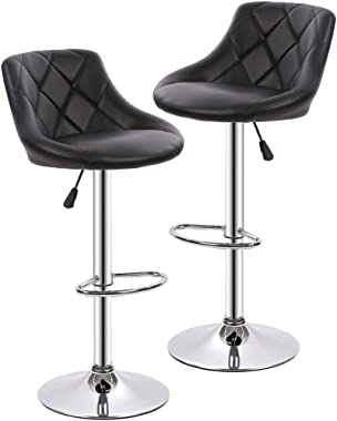 Counter Height Bar Stools Set of 2 Barstools Swivel Stool Height Adjustable Bar Chairs with Back PU Leather Swivel Bar Stool