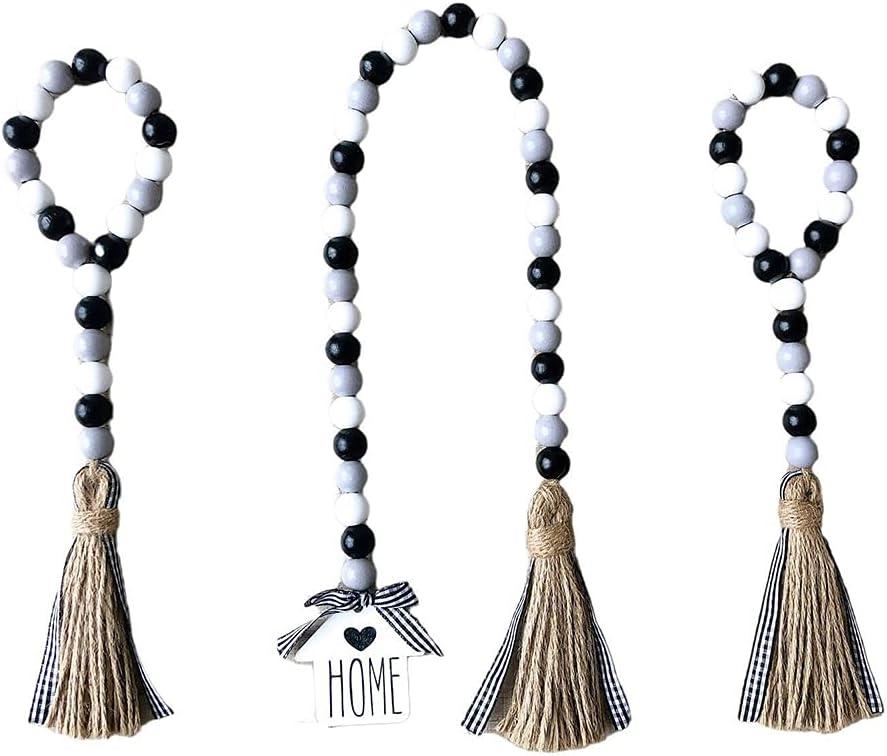 YUELU 3Pcs Wood Finally popular brand Bead Garland Set Tassels with W In stock Farmhouse Beads