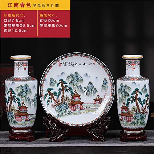 ZNYLX Vasi Vaso Set di vasi in Ceramica Jingdezhen Set di Modelli Tradizionali Cinesi di paesaggi Vaso Fatto a Mano Tradizionale, D
