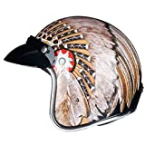 TorkeRng Retro Jet Motorcycle Scooter Helmet Silver Chrome Helmet Racing Protective Mask Indian with Visor S