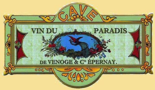 plaque metal de porte 8x20 cm cave a vins du paradis