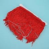 Ichiias Borla Agradable para la Piel, Accesorios duraderos de poliéster, decoración de Flecos Largos de 10 y 14 cm para Disfraces de Samba Disfraces de(Big Red)