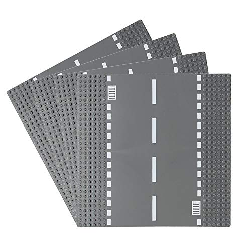 Feleph Road Base Plates, City Street Straight Road Building Kit, 10 x 10 Inches Town Baseplate for Building Bricks Compatible with All Major Brands (Straight 4 Pieces)