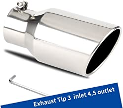 3 to 4.5 Inch Exhaust Tip, 3 x 4 1/2 x 9 chrome polished Finish Stainless Steel Material Exhaust Tip, Bolt-On Installation Design