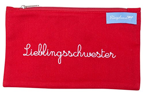 Kosmetiktäschchen für die Schwester Lieblingsschwester Rot Stickerei Weiß 12 x 20 cm Fair Trade Ringelsuse