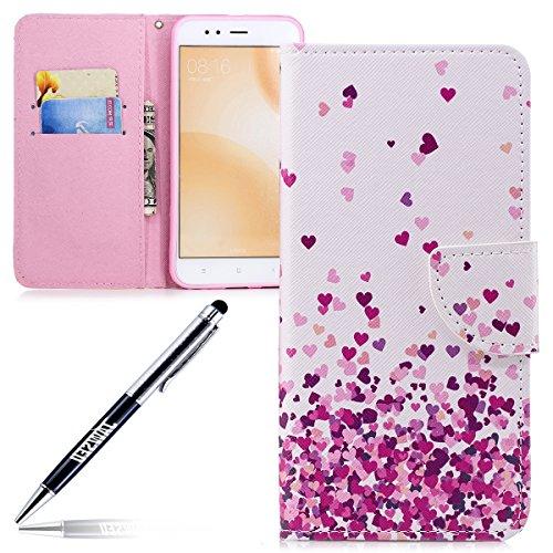 JAWSEU telefoonhoes voor Xiaomi Mi A1 Beschermhoes PU Leather Portefeuille Flip Case Cover veer vogel patroon, Roze liefde hart