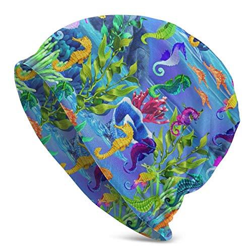 AEMAPE Gorro unisex bajo el agua, caballitos de mar, diseño de calavera de arco iris, unisex, para la cabeza