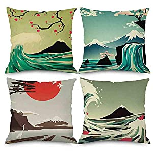 Pack of 4 Throw Pillow Covers 18×18 Japanese Style Painting Green Sea Wave Mountain Red Flowers Sun Spring Fall Home…