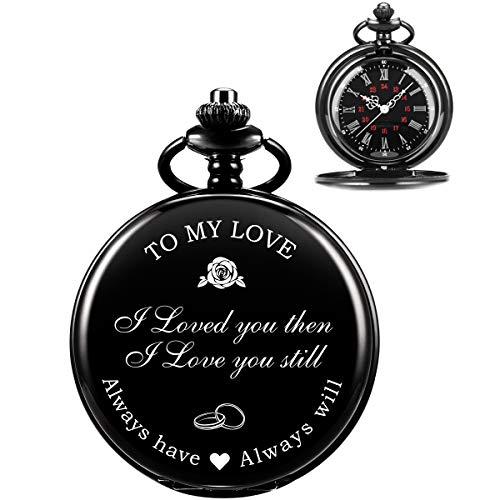 ManChDa Gravierte Taschenuhr Für Ehemann/Freund Für Mein Liebesgeschenk, Vintage Taschenuhren Mit Kette Für Männer, Geburtstagsgeschenk Valentinstagsgeschenk, Schöne Geschenke Für Die Familie