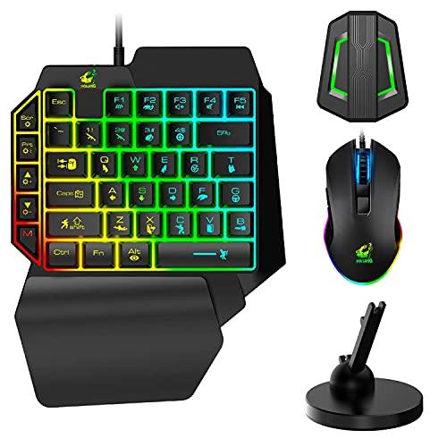 Teclado para juegos con una sola mano con cable+Mouse RGB para juegos+Mouse Bungee Antideslizante 360 ° Girar el soporte del cable del mouse Fijador+Convertidor retroiluminado para Switch/Xbox/PS4/PC