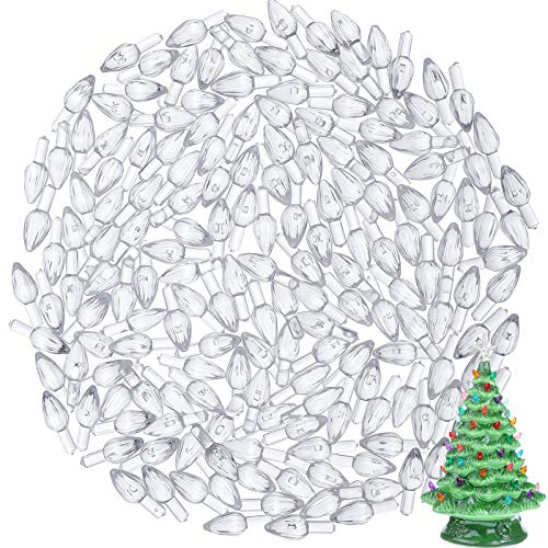 Gejoy 300 Pieces Plastic Ceramic Christmas Tree Bulbs Plastic Light Decorations for Christmas Tree Ornaments, Light Shape (Clear)