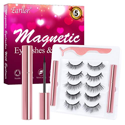 EARLLER 5 Pairs Magnetic Eyelashes with Eyeliner Kit, Natural Look False Lashes with Applicator - Easy to Apply and No Glue Needed, 3D & 5D Reusable Short and Long Eyelashes Set