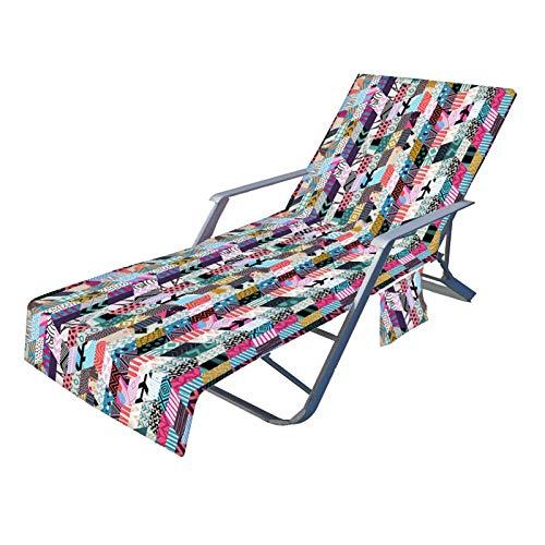 Cubierta de silla de playa cubierta de tumbona antideslizante con bolsillos
