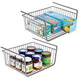 mDesign Household Metal Under Shelf Hanging Storage Bin Basket with Open Front for Organizing Kitchen Cabinets, Cupboards, Pantries, Shelves - Large, 2 Pack - Graphite Gray