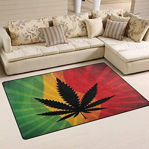 Moderne Teppichbodenmatte Wohnkultur Innen- und Außenstrahl Retro Regenbogen Marihuana Blatt Teppiche Fußmatte