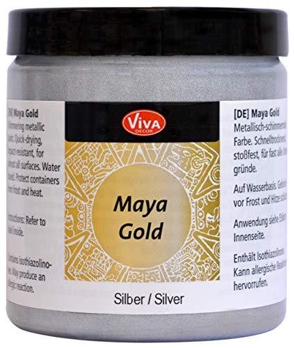 Viva Decor®️ Maya Gold (Silber, 250 ml) Acrylfarbe mit Metallic Effekt - Malfarbe - Acryl Farben für Holz, Pappe, Beton, Papier, Leinwand UVM.